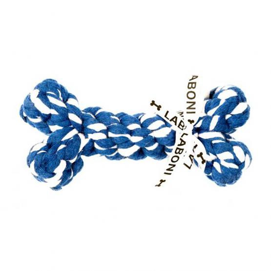 Hundespielzeug LABONI Bonnie Bone blau-weiss